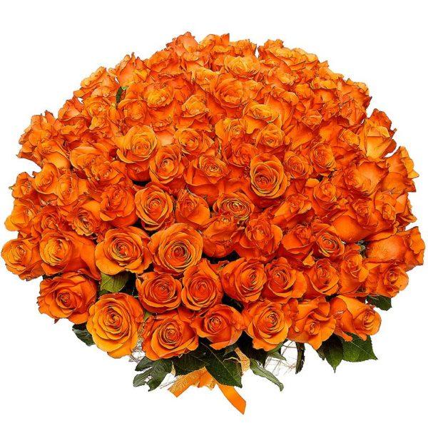 Оранжево-золотой букет роз