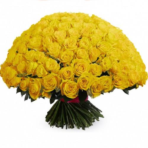Ярко-желтый букет роз на 50 лет совместной жизни